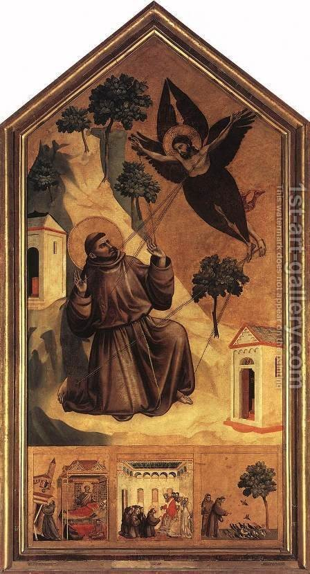Giotto Di Bondone: Stigmatization of St Francis 1300 - reproduction oil painting
