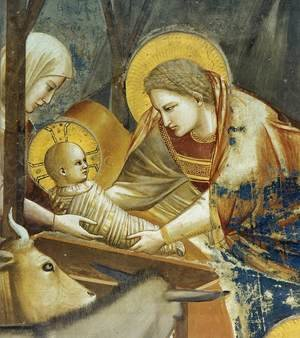Reproduction oil paintings - Giotto Di Bondone - No. 17 Scenes from the Life of Christ- 1. Nativity- Birth of Jesus (detail) 1304-06