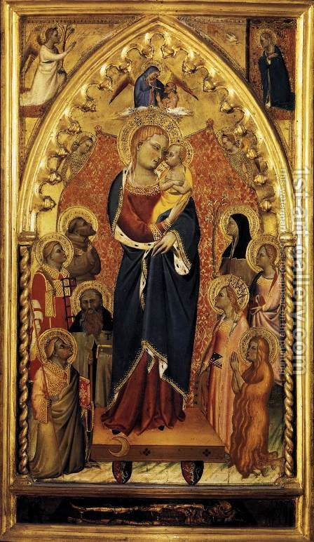 The Virgin of the Apocalypse with Saints and Angels c. 1391 by Giovanni del Biondo - Reproduction Oil Painting