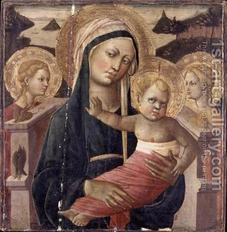 Madonna and Child Enthroned by Giovanni di ser Giovanni Guidi (see Scheggia) - Reproduction Oil Painting