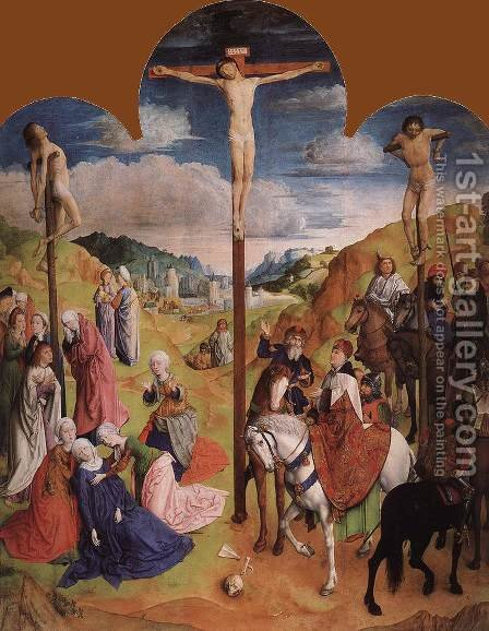 Calvary Triptych (central panel) 1465-68 by Hugo Van Der Goes - Reproduction Oil Painting