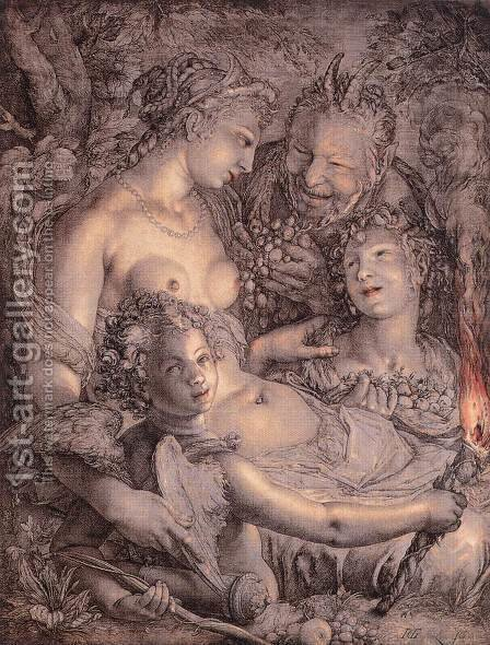 Without Ceres and Bacchus, Venus would Freeze 1599-1602 by Hendrick Goltzius - Reproduction Oil Painting