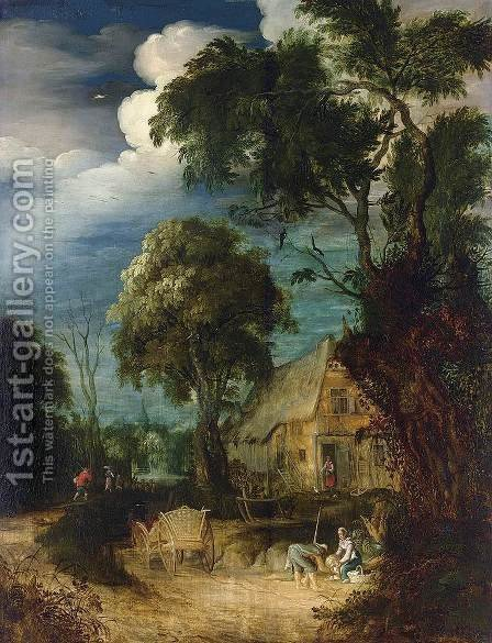 Wooded Landscape 2 by Abraham Govaerts - Reproduction Oil Painting