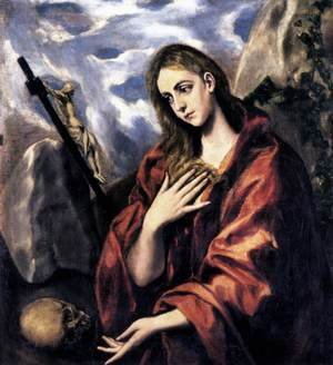 Mannerism painting reproductions: Mary Magdalen in Penitence 1585-90