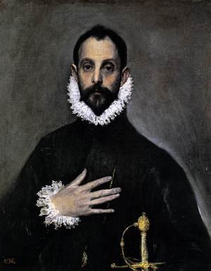 Mannerism painting reproductions: Nobleman with his Hand on his Chest 1583-85