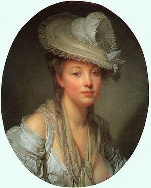 Rococo painting reproductions: Young Woman in a White Hat  1780