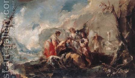 The Healing of Tobias's Father c. 1750 by Giovanni Antonio Guardi - Reproduction Oil Painting