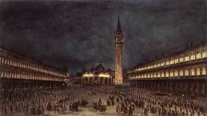 Famous Paintings in Ashmolean Museum, Oxford, UK: Nighttime Procession in Piazza San Marco 1758