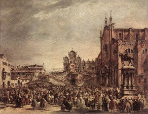 Famous Paintings in Ashmolean Museum, Oxford, UK: Pope Pius VI Blessing the People on Campo Santi Giovanni e Paolo  1782