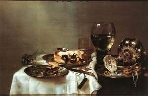 Famous paintings of Desserts: Breakfast Table with Blackberry Pie 1631