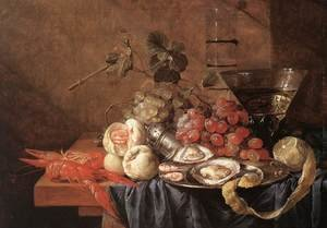 Reproduction oil paintings - Jan Davidsz. De Heem - Fruits and Pieces of Sea