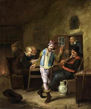 Famous paintings of Taverns: Peasants in a Tavern
