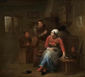 Famous paintings of Taverns: Two Peasants and a Woman in an Inn