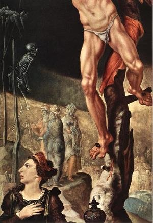 Famous paintings of Skeletons: Crucifixion (detail) 1545-50