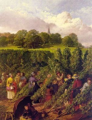 Realism painting reproductions: The Hop Pickers  1855