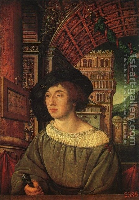 Portrait of a Young Man 1518 by Ambrosius Holbein - Reproduction Oil Painting
