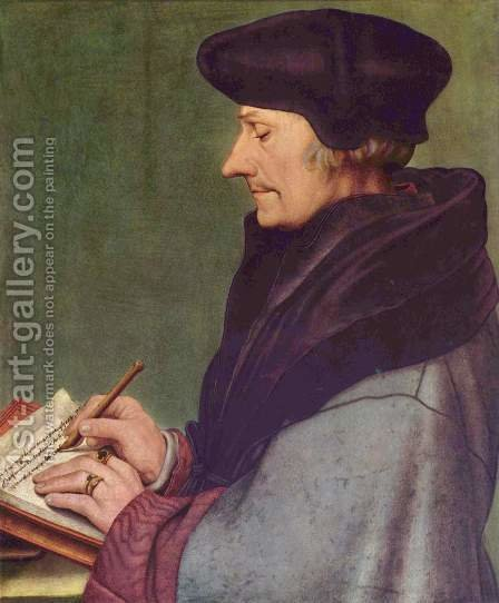 Portrait of Erasmus of Rotterdam Writing 1523 by Hans, the Younger Holbein - Reproduction Oil Painting