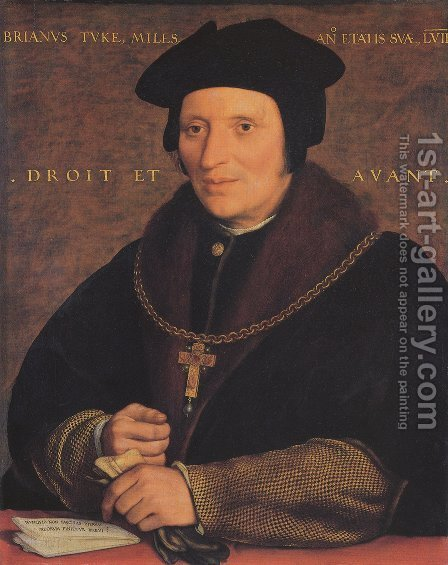 Sir Brian Tuke c. 1527 by Hans, the Younger Holbein - Reproduction Oil Painting