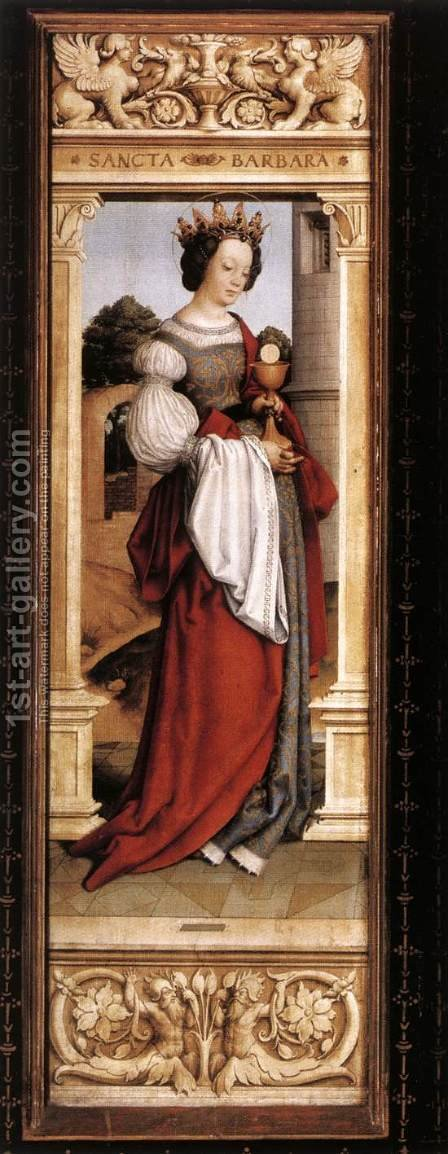 St Barbara 1516 by Hans, the Younger Holbein - Reproduction Oil Painting