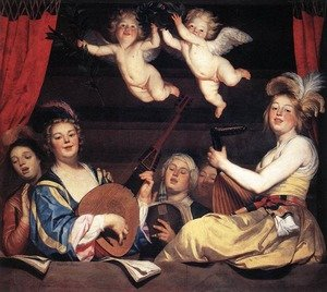 Reproduction oil paintings - Gerrit Van Honthorst - Concert on a Balcony 1624