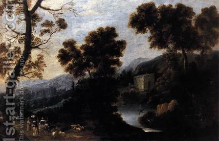 Landscape with Figures c. 1660 by Ignacio de Iriarte - Reproduction Oil Painting