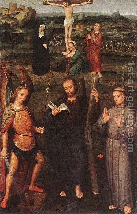 Archangel St Michael, St Andrew and St Francis of Assisi by Adriaen Isenbrandt (Ysenbrandt) - Reproduction Oil Painting