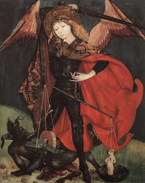 Famous paintings of Devils & Demons: St. Michael Weighing Souls  1480