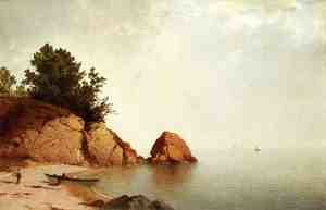 Reproduction oil paintings - John Frederick Kensett - Beach at Beverly  1869-72