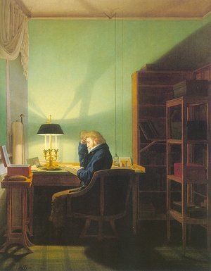 Famous paintings of Furniture: Man Reading by Lamplight  1814