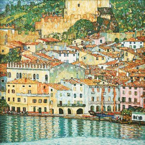 Famous paintings of Villages: Malcesine on Lake Garda  1913