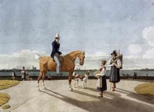 Wilhelm Von Kobell reproductions - Gentleman on Horseback and Country Girl on the Banks of the Isar near Munich 1831