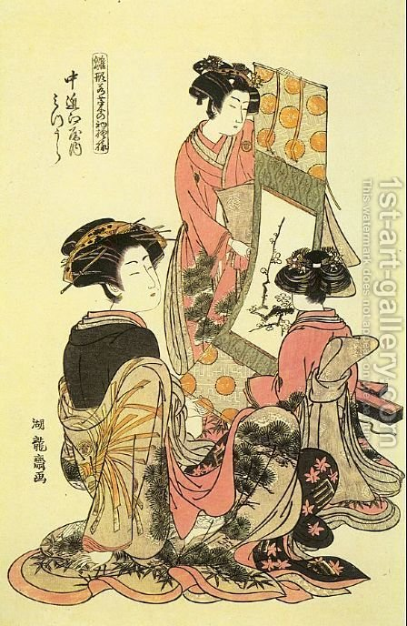 Hinagata Wakana no Hatsumoyo  1780-81 by Isoda Koryusai - Reproduction Oil Painting
