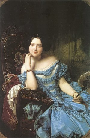 Famous paintings of Portraits: Amalia de Llano y Dotres- The Countess of Vilches  1853