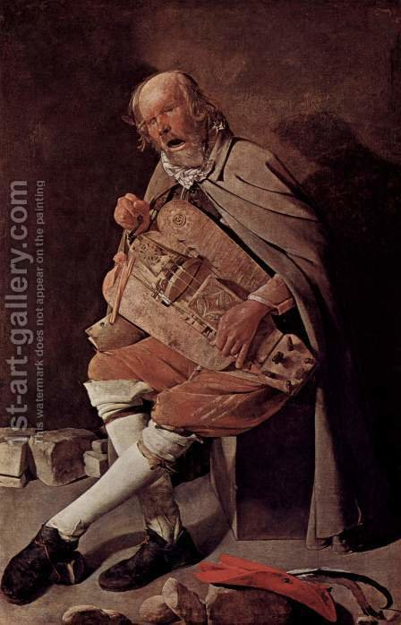 The Hurdy-gurdy Player 1631-36 by Georges de La Tour - Reproduction Oil Painting