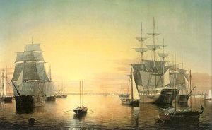 Famous paintings of Ships & Boats: Boston Harbor  1850-55