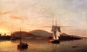 Fitz Hugh Lane reproductions - Camden Mountains from the South Entrance to the Harbor  1859