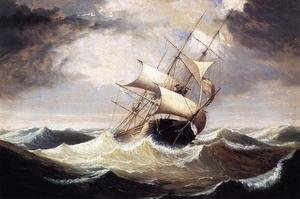 Reproduction oil paintings - Fitz Hugh Lane - Three-Master in Rough Sea  1856