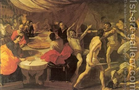 Banquet with a Gladiatorial Contest  1637-38 by Giovanni Lanfranco - Reproduction Oil Painting