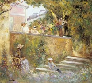 Reproduction oil paintings - Henri Lebasque - Nono and Marthe in the Garden with Madame Lebasque