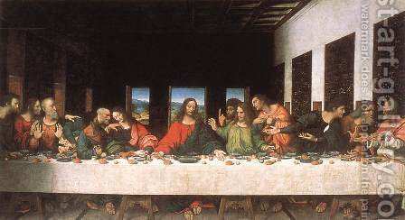Leonardo Da Vinci: Last Supper (copy) 16th century - reproduction oil painting
