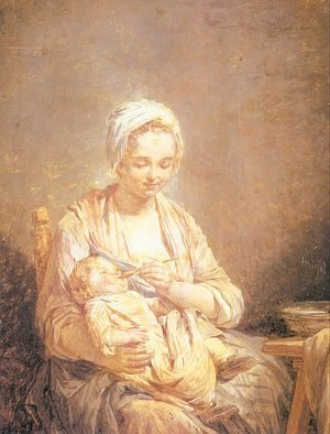 Nicolas-Bernard Lepicier reproductions - A Mother Feeding her Child  1774