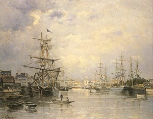 Stanislas Lepine reproductions - The Port of Caen  1859