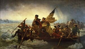 Famous paintings of Ships & Boats: Washington Crossing the Delaware  1851