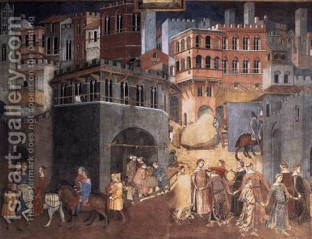 Effects of Good Government on the City Life (detail-3)  1338-40 by Ambrogio Lorenzetti - Reproduction Oil Painting
