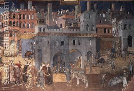 Effects of Good Government on the City Life (detail-4)  1338-40 by Ambrogio Lorenzetti - Reproduction Oil Painting