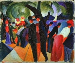 Reproduction oil paintings - August Macke - A Stroll on the Bridge (Spaziergang auf der Brücke)  1913
