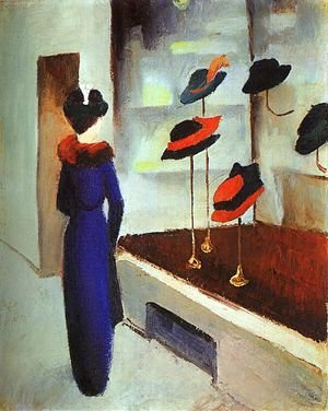 Reproduction oil paintings - August Macke - Milliner's Shop (Hutladen)  1913