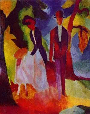 August Macke reproductions - People by a Blue Lake (Leute am Blauen See)  1913
