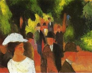 Reproduction oil paintings - August Macke - Promenade with Half-Length of Girl in White  1914