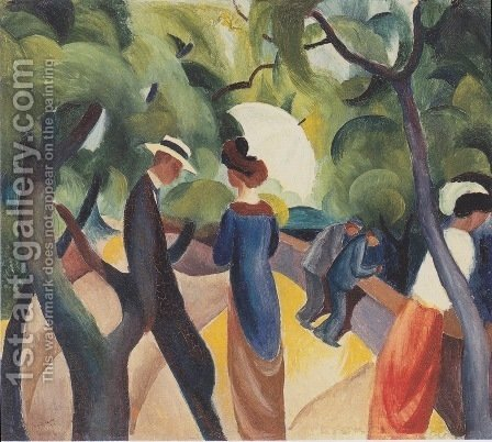 Promenade  1913 by August Macke - Reproduction Oil Painting